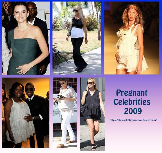 From R-L: Penelope Cruz, Nicole Richie, Gisele Bundchen, Jennifer Hudson, Ellen Pompeo, Sarah Michelle Gellar - 2009 Preggers list